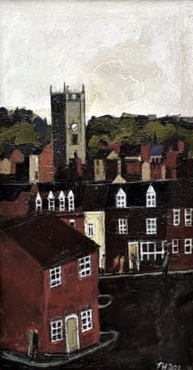 bewdley from wyre hill oil on canvas framed