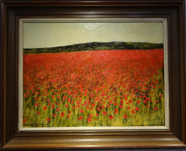 Oil on board -field of poppies, Shropshire