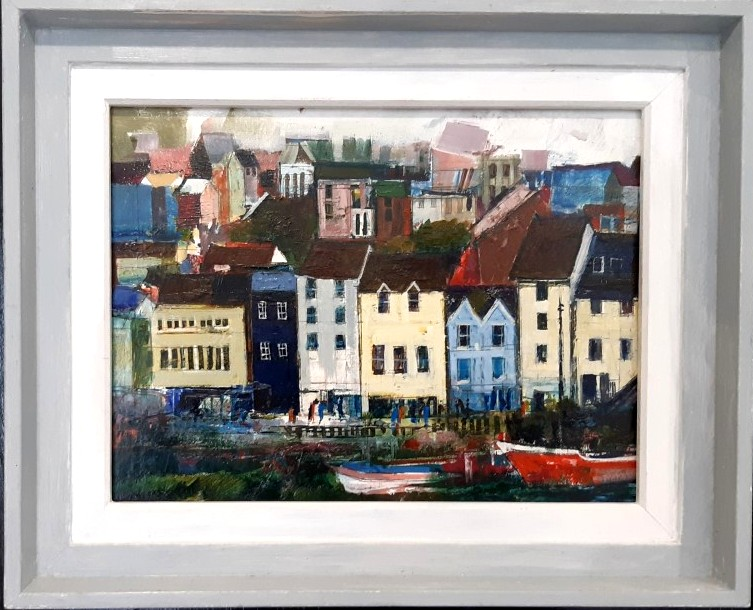 brixham harbour oil on board painting