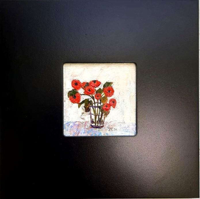 Oil on board - still life case of poppies