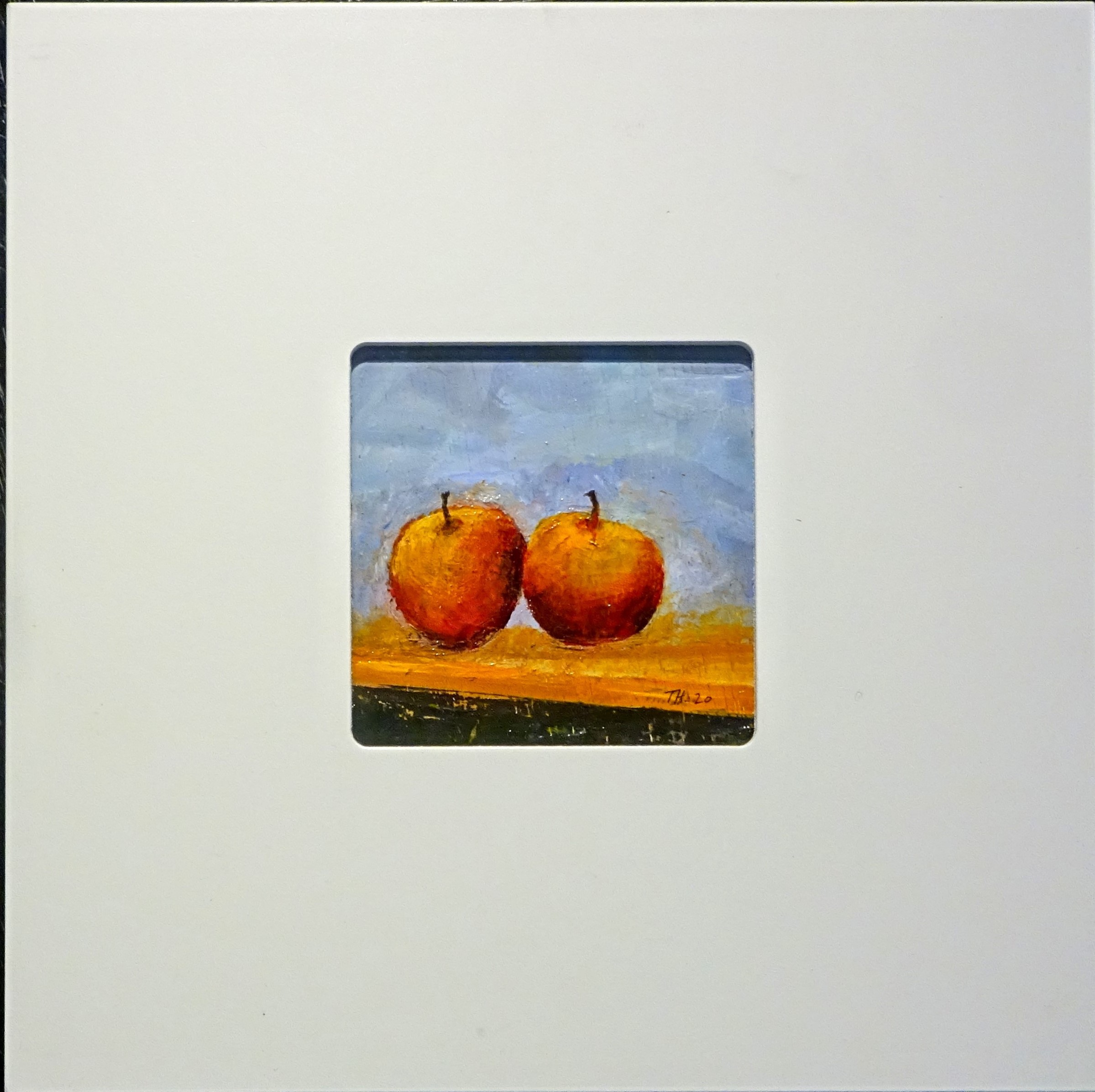 Oil on board - still life 2 apples