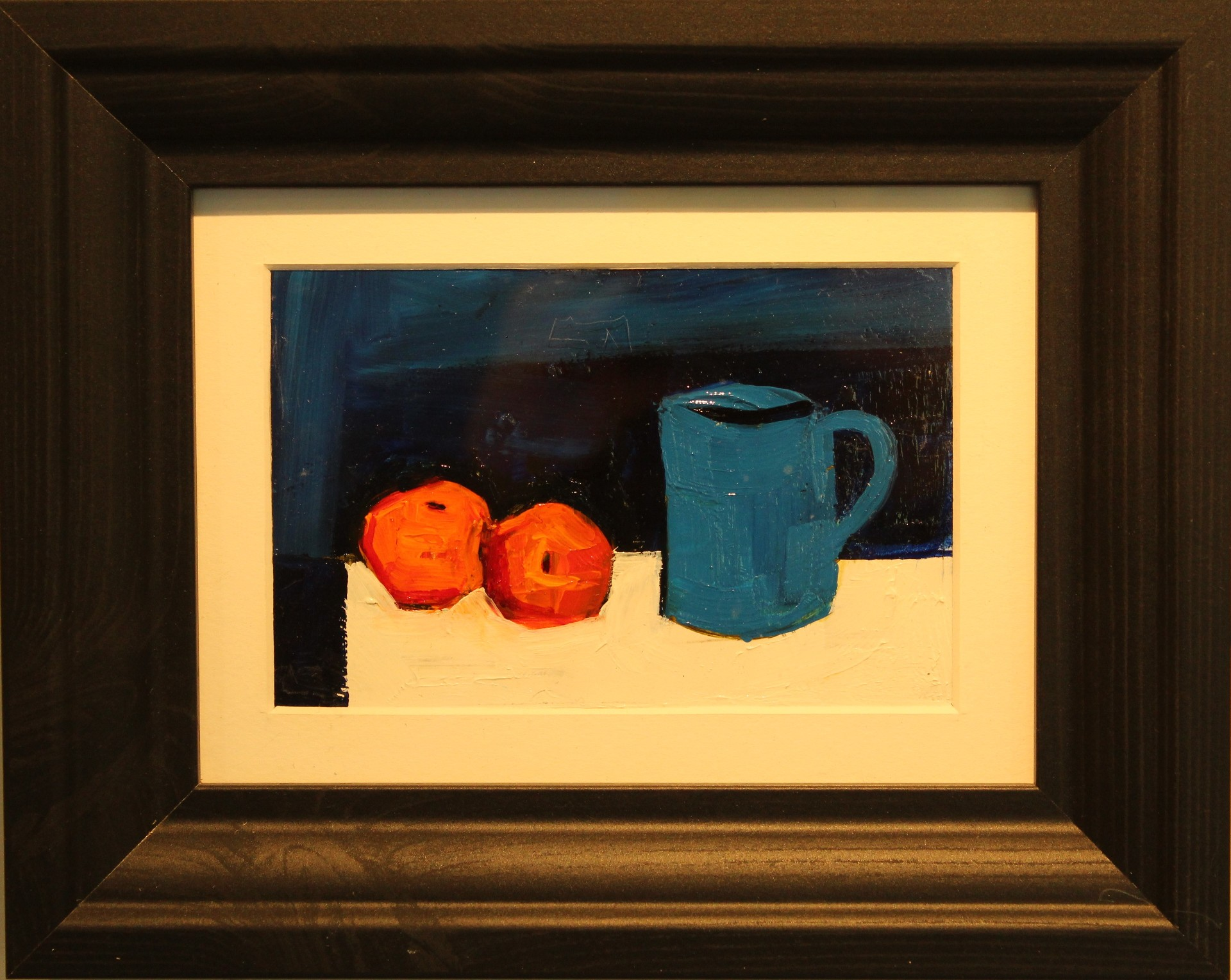 Oil on panel - still life mug and fruit