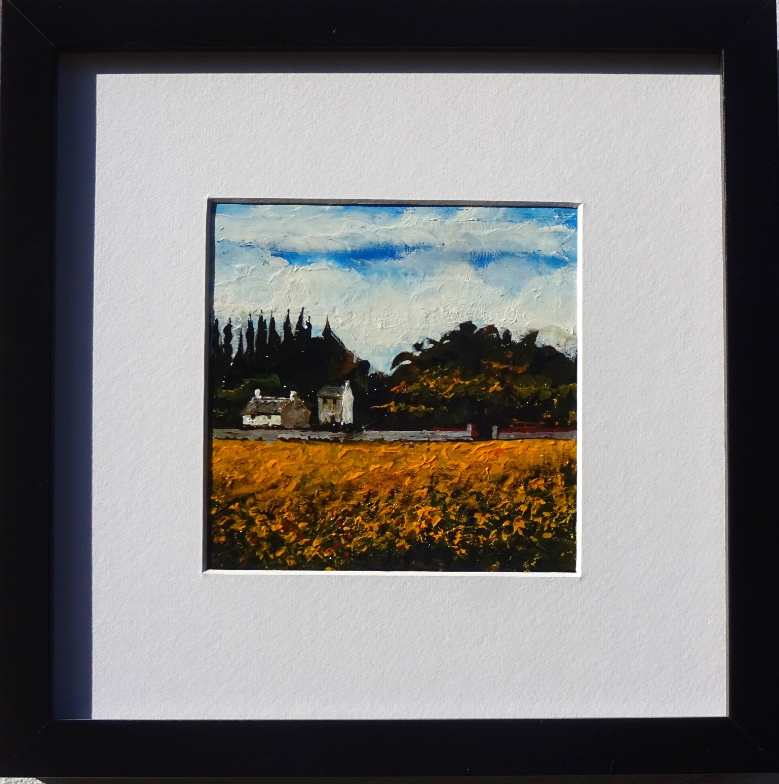 Oil on board - Sunflowers provence